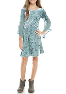 Long Sleeve Crushed Velvet Dress Girls 7-16