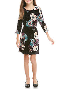 Long Sleeve Floral Velvet Dress Girls 7-16