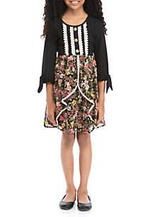 SEQUIN HEARTS girls Girls 7-16 Tie Sleeve Knit to Print Woven Skirt Dress