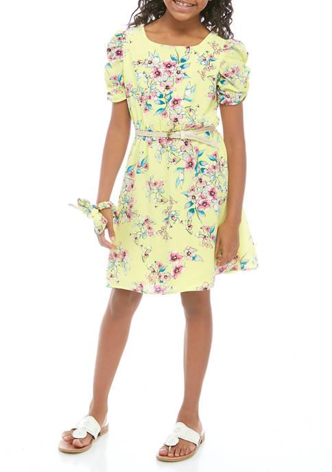 Girls 7-16 Floral Dress and Scrunchie Set