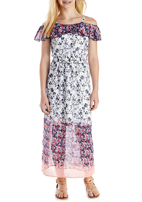 SEQUIN HEARTS girls Printed Strappy Maxi Dress Girls