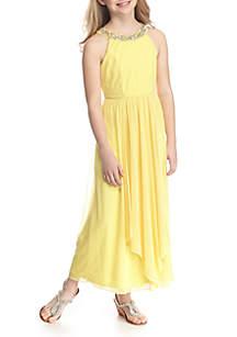 Sleeveless Maxi Jewel Neckline Dress Girls 7-16