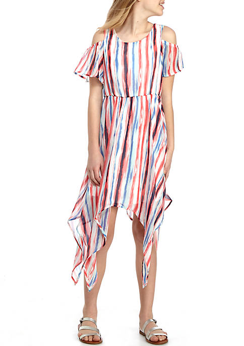 SEQUIN HEARTS girls Watercolor Stripe Cold Shoulder Maxi