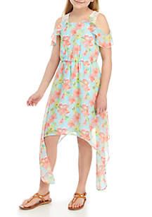 SEQUIN HEARTS girls Girls 7-16 Floral High Low Cold Shoulder Dress
