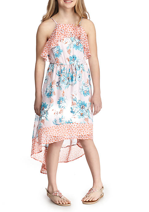 SEQUIN HEARTS girls Floral Printed Ruffle Hi-Lo Maxi