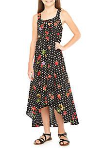 Girls 7-16 Floral Dot High Low Dress