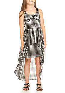 Girls 7-16 Gingham Bow Front High Low Dress