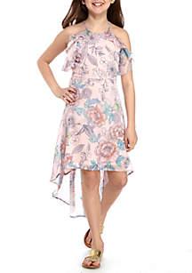 Floral Ruffle Hi Lo Dress Girls 7-16