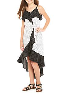 Girls 7-16 Twin Print Ruffle Front Dress