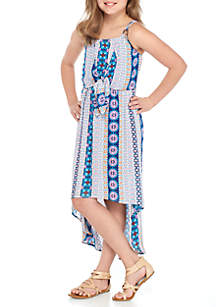 Girls 7-16 Tie Front Bayadere High Low Dress