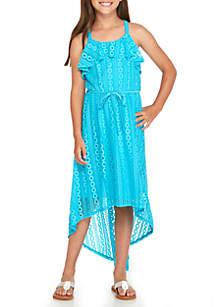 Girls 7-16 Allover Crochet High Low Dress