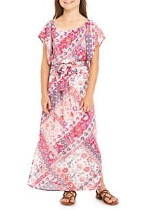 Girls 7-16 Blush Angel Sleeve Printed Maxi Dress