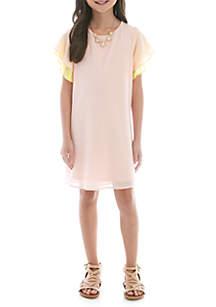 SEQUIN HEARTS girls Girls 7-16 Blush to Yellow Tulip Sleeve Dress