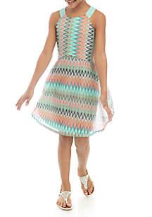 SEQUIN HEARTS girls Girls 7-16 Multi Stitch Skater Dress