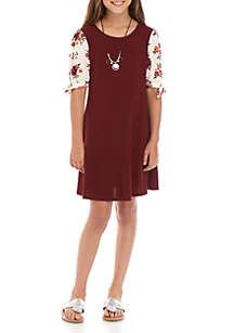 SEQUIN HEARTS girls Girls 7-16 Short Sleeve Wine Floral Knit Dress