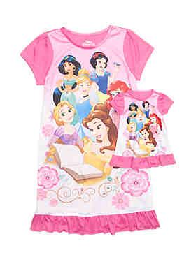 Disney Princess Girls 4-8 Princess Pajamas ... c9287496a