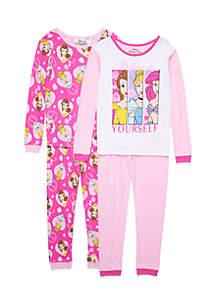 Toddler Girl 4-Piece Princess Pajama Set