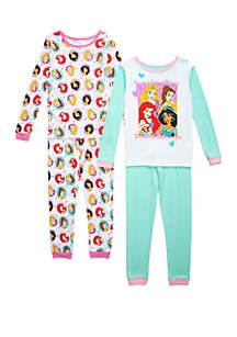 Disney® Princess Girls 4-10 Princess 4 Piece Pajama Set