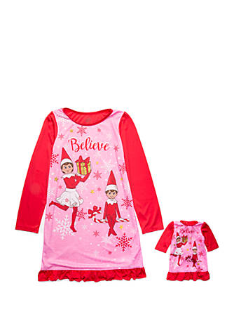 The Elf on the Shelf Girls Elf on The Shelf Nightgown with Matching Doll Gown Nightgown