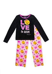 Girls 4-16 Emoji Fleece Pajama Set