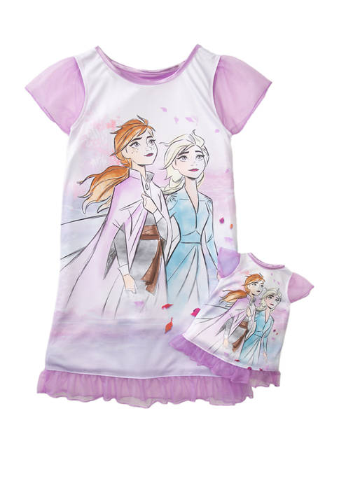 Girls 4-8 Sisters Dorm and Doll Pajama Dress Set