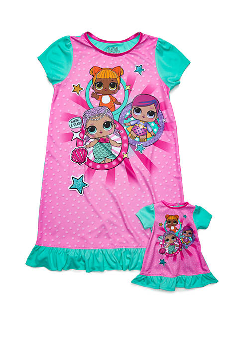 Girls 4-10 LOL Surprise Nightgown with Doll Gown