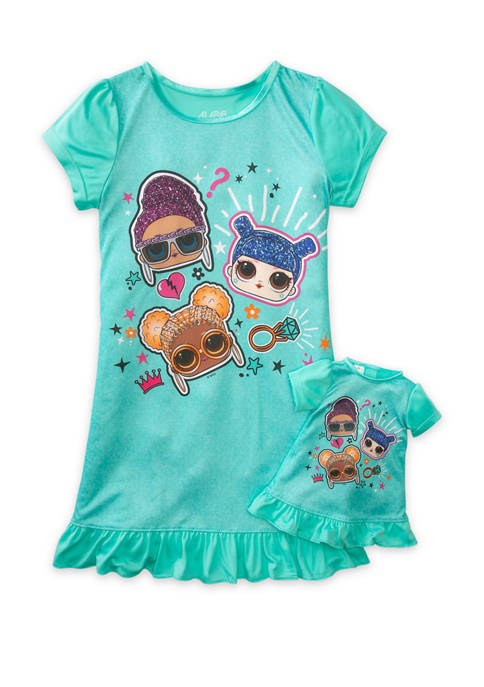 Girls 4-10 Nightgown with Doll Gown