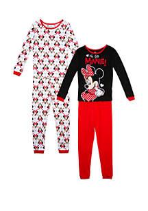 Disney® Minnie Girls 4-10 Minnie Mouse 4 Piece Pajama Set