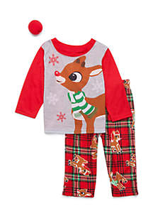 Girls 4-6x 2-Piece Rudolph Pajama Set
