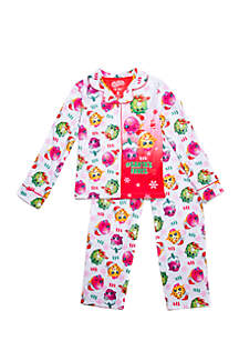 Girls 4-16 Shopkins Holiday Coat Pajama Set