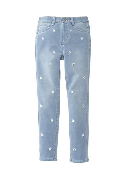 Girls 7-16 High Rise Daisy Embroidered Denim Jeans