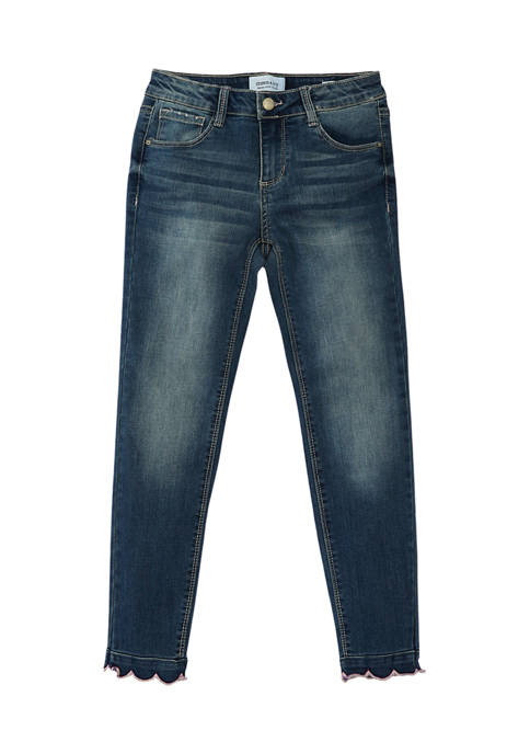 Girls 7-16 Scallop Ankle Skinny Jeans