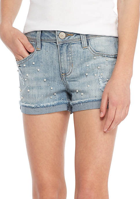 Imperial Star Girls 7-16 Destructed Pearl Midi Shorts