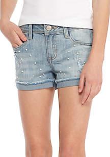 Girls 7-16 Destructed Pearl Midi Shorts