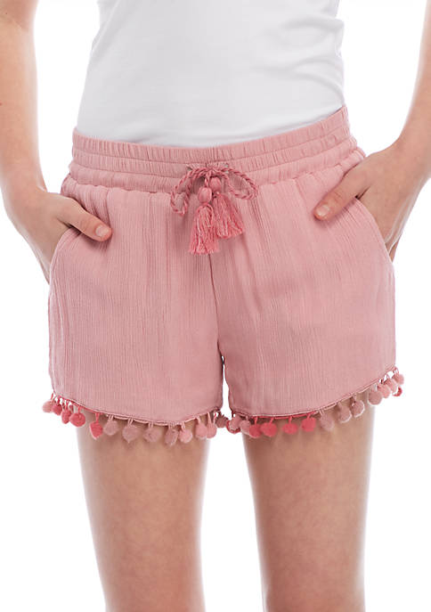 Imperial Star Girls 7-16 Crinkle Pom Soft Shorts