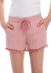 Girls 7-16 Crinkle Pom Soft Shorts