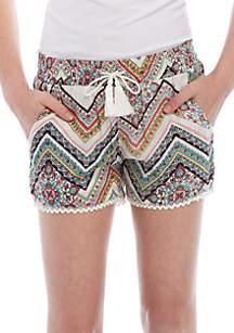 Girls 7-16 Multi-Chevron Soft Shorts