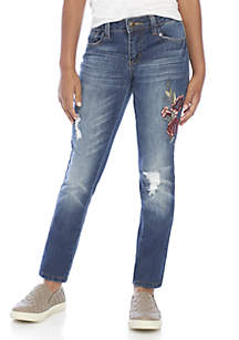 Girls 7-16 Dark Embroidered Floral Skinny Jeans