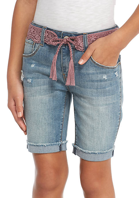 Imperial Star Girls 7-16 Blush Crochet Belted Denim