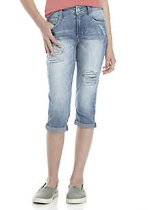 Girls 7-16 Sequin Cuff Crop Destructed Denim Pants