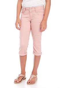 Girls 7-16  Sequin Rip Cuff Crop Pants