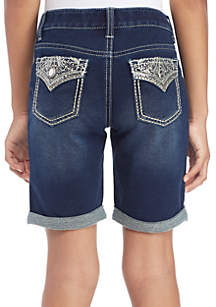Girls 7-16 Sequin Flap Dark Cuff Bermuda Shorts