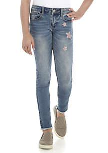 Girls 7-16 Pink Stars Destructed Fray Hem Skinny Jeans