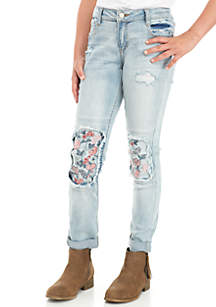 Girls 7-16 Embroidered Knee Double Roll Ankle Skinny Jeans