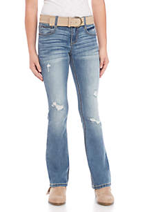 Girls 7-16 Victoria Belted Destructed Bootcut Jeans