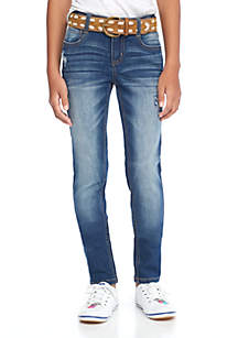 Girls 7-16 Tally Wash Belted Destruct Skinny Jeans