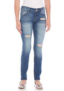 Jasmine Glitter Knee Destructed Skinny Jeans