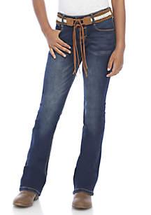 Girls 7-16 Dark Belted Flare Denim Jeans