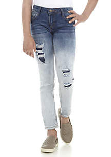 Girls 7-16 Ombre Destructed Skinny Jeans
