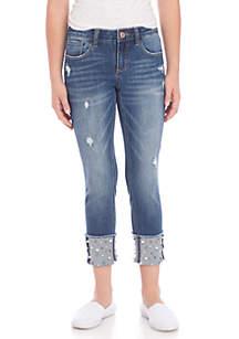 Girls 7-16 Pearl Cuff Dark Wash Skinny Jeans